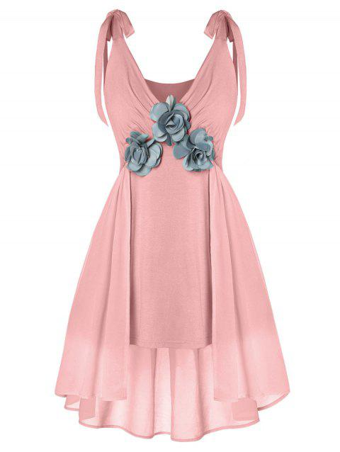 Plus Size Plunge Flare Tank Top - PINK 1X