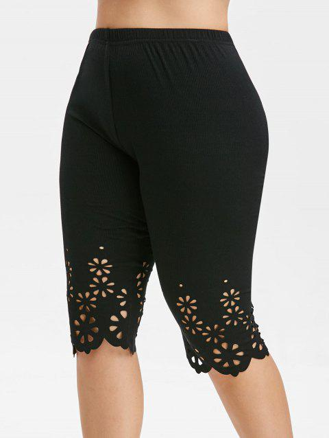 Plus Size Laser Cutting Elastic Waist Leggings - BLACK 5X