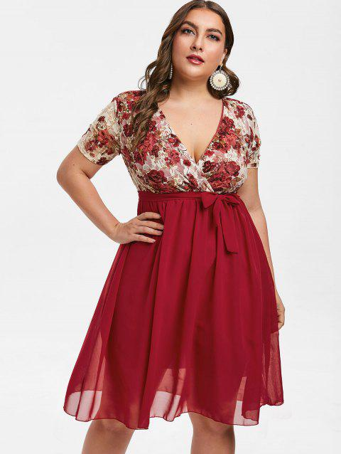 4135793d531f 41% OFF] 2019 Plus Size Floral Lace Insert A Line Dress In RED WINE ...