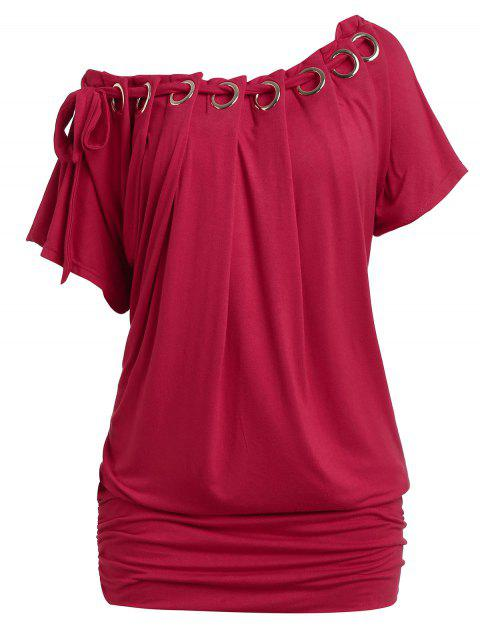 Plus Size Skew Neck Ruched T-shirt - RED WINE 5X