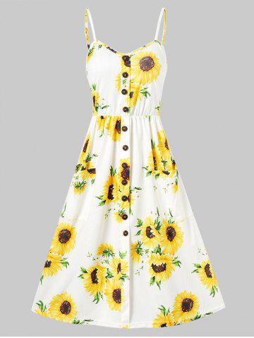 0cc212b6c57 Plus Size Sunflower Print A Line Dress