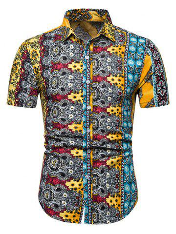 91a6f15589c Floral Ethnic Design Linen Short Sleeve Shirts