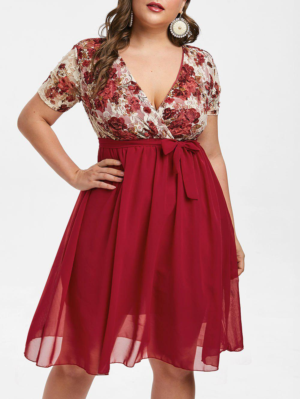 Plus Size Floral Lace Insert A Line Dress - RED WINE 3X