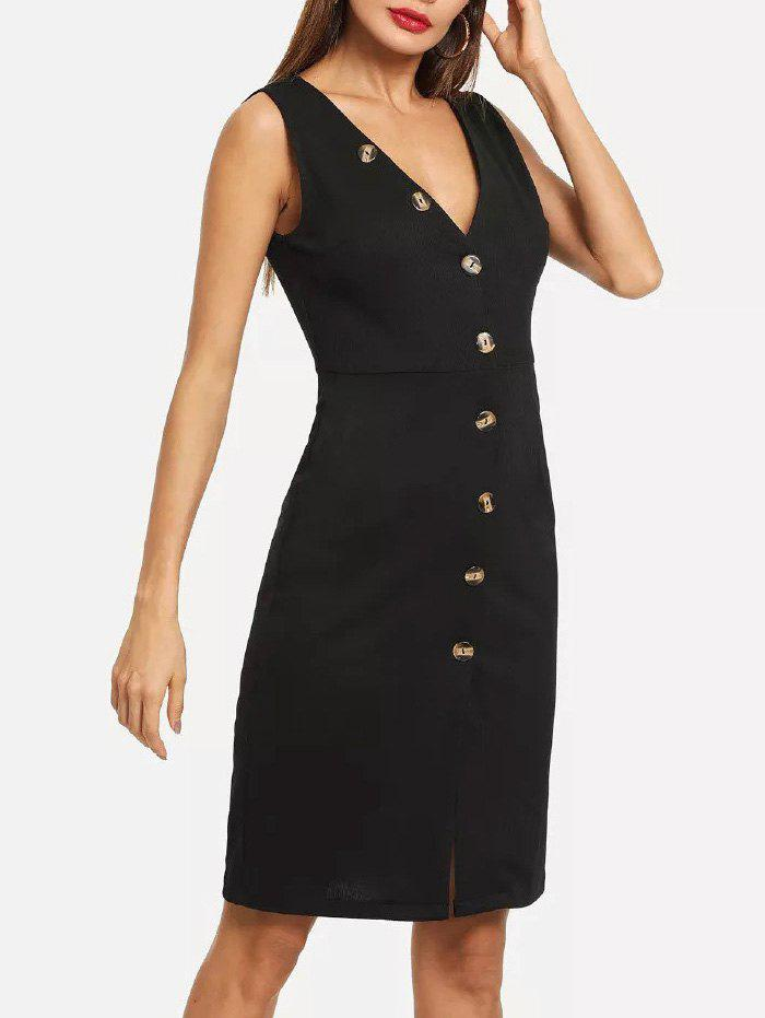 Button Up Sleeveless Plunging Dress - BLACK S
