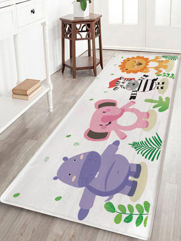 Zebra Elephant Lion Print Kids Bath Rug