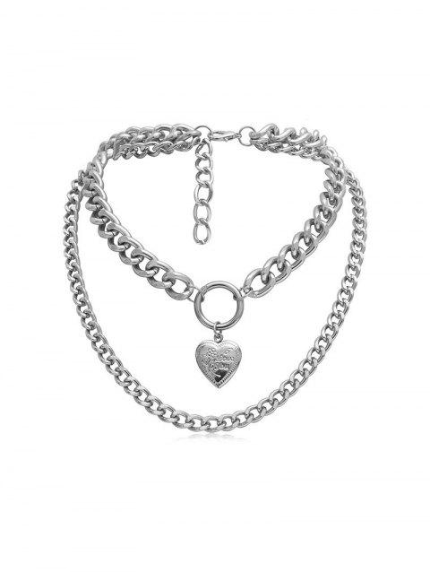 Link Chain Heart Layers Necklace - SILVER