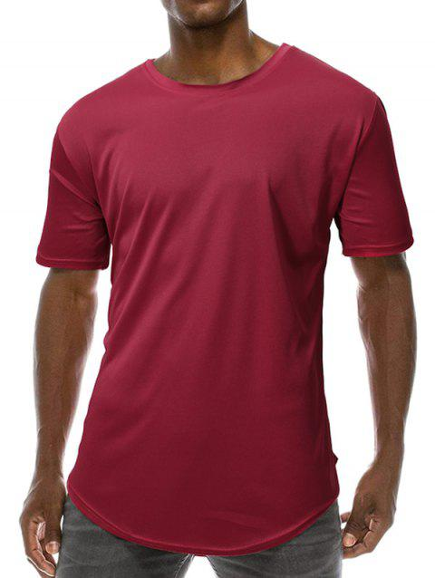 Curved Short Sleeve Longline T Shirt - RED WINE XL