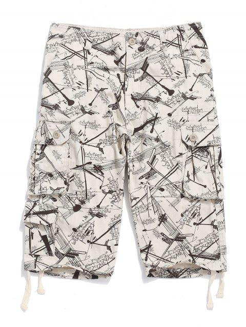 Graphic Printed Casual Cargo Shorts - WARM WHITE 42