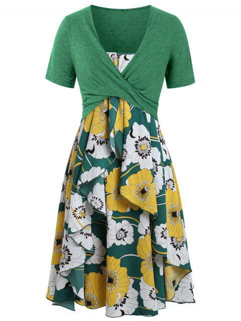Plus Size Floral Print Layered Cami Dress With Criss Cross Crop Top - SHAMROCK GREEN 5X