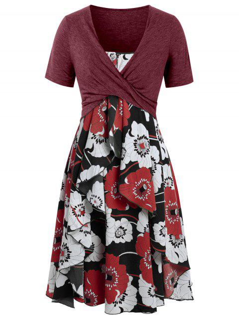 Plus Size Floral Print Layered Cami Dress With Criss Cross Crop Top - CHERRY RED 5X
