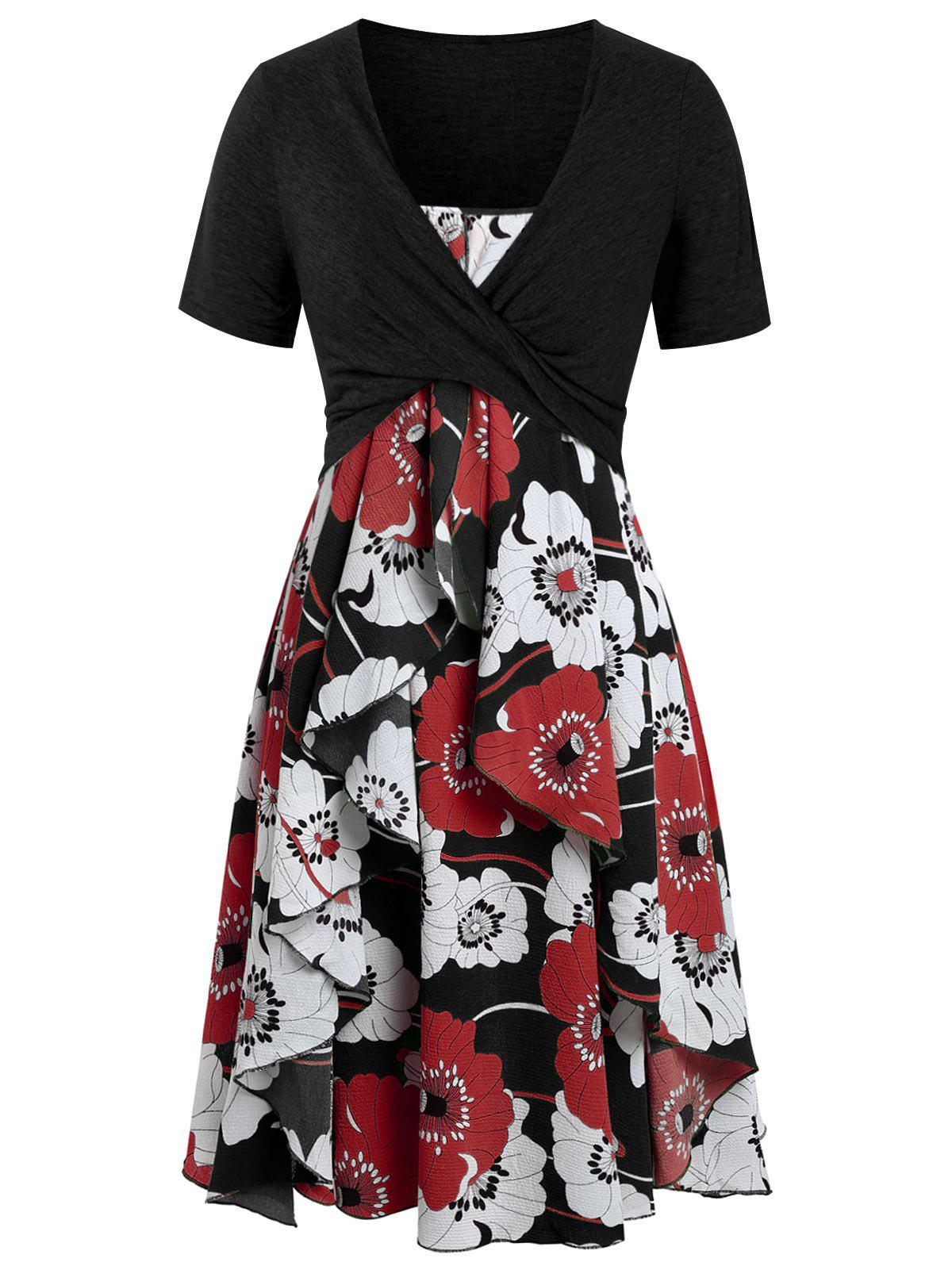 Plus Size Floral Print Layered Cami Dress With Criss Cross Crop Top - BLACK 2X