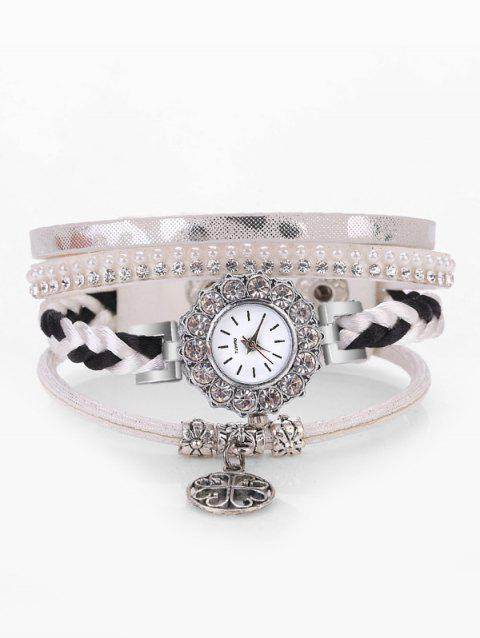 Pendant Clover Rhinestone Multilayer Bracelet Watch - WHITE