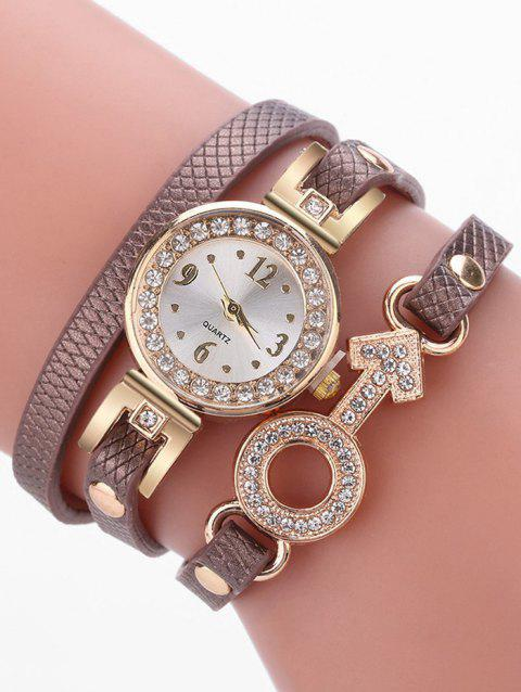 Rhinestone Key Type Bracelet Watch - BROWN