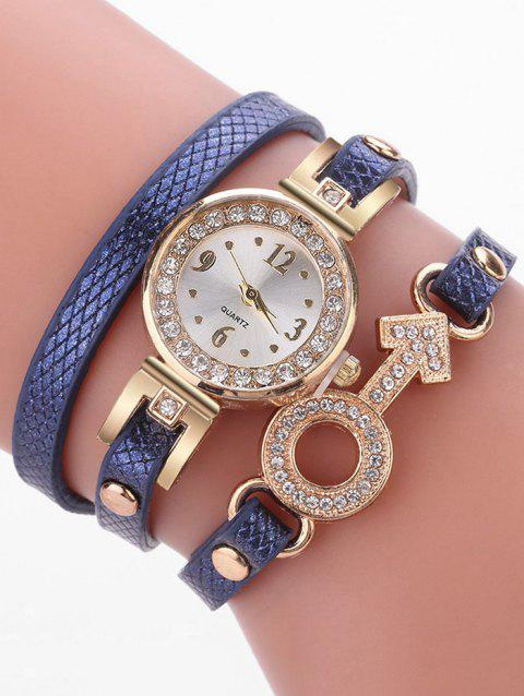 Rhinestone Key Type Bracelet Watch - BLUE