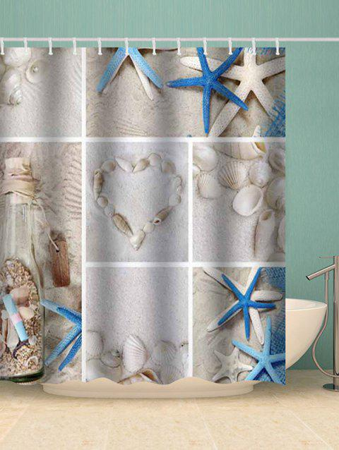 Starfish Conch Shell Heart Waterproof Shower Curtain - multicolor W79 X L71 INCH