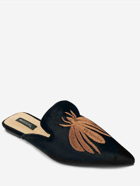 Pointed Toe Spider Embroidery Slides - BLACK EU 35