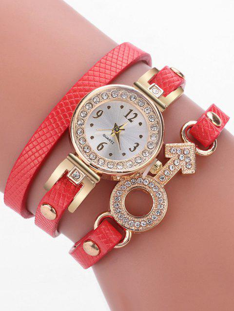 Rhinestone Key Type Bracelet Watch - RED