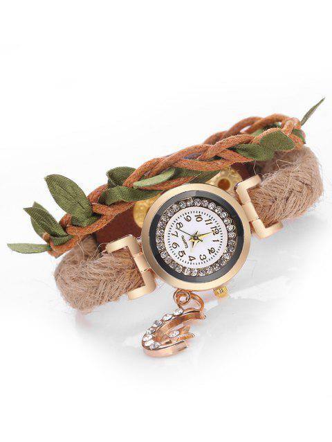 Star Moon Leaf Embellished Wrap Watch - BROWN
