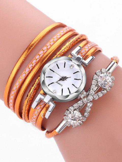 Rhinestone Infinity Wrap Quartz Watch - ORANGE
