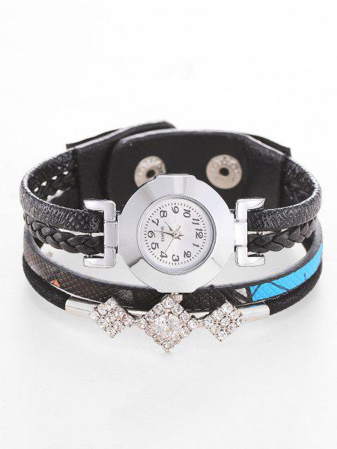 Rhinestone Geometric Wrap Bracelet Watch - BLACK