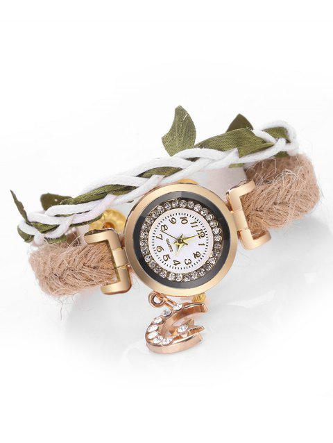 Star Moon Leaf Embellished Wrap Watch - WHITE