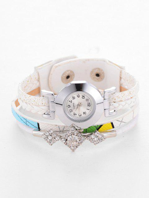 Rhinestone Geometric Wrap Bracelet Watch - WHITE