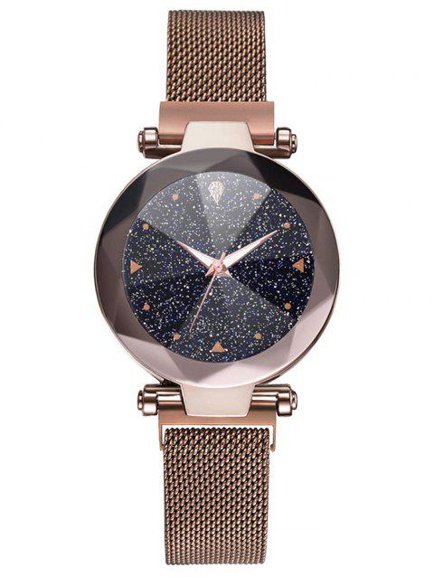 Round Starry Dial Wrist Quartz Watch - BROWN BEAR