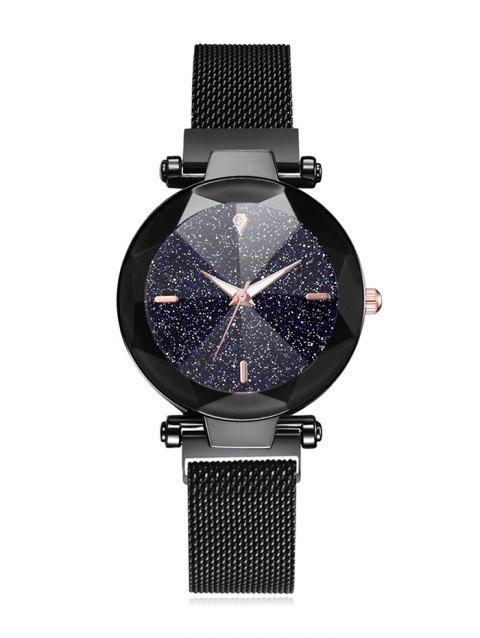 Diamond Mirror Shape Magnetic Buckle Watch - BLACK