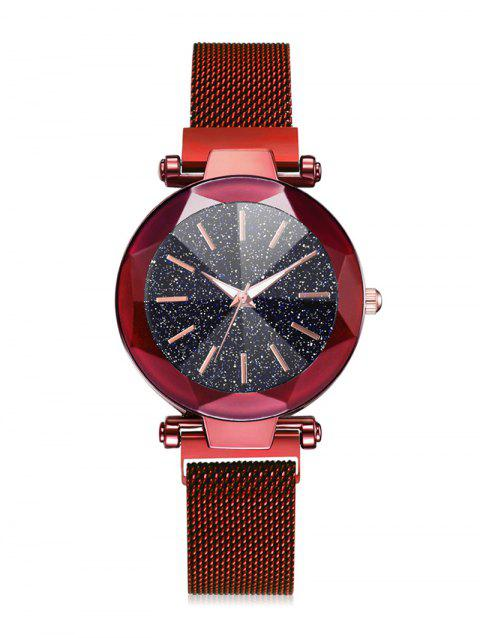 Starry Dial Magnetic Buckle Quartz Watch - RED