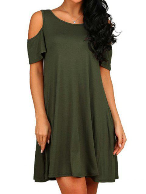 Solid Cold Shoulder Dress - ARMY GREEN S
