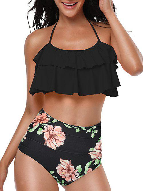 Floral Print Ruched Knotted Back Bikini Set - BLACK XL