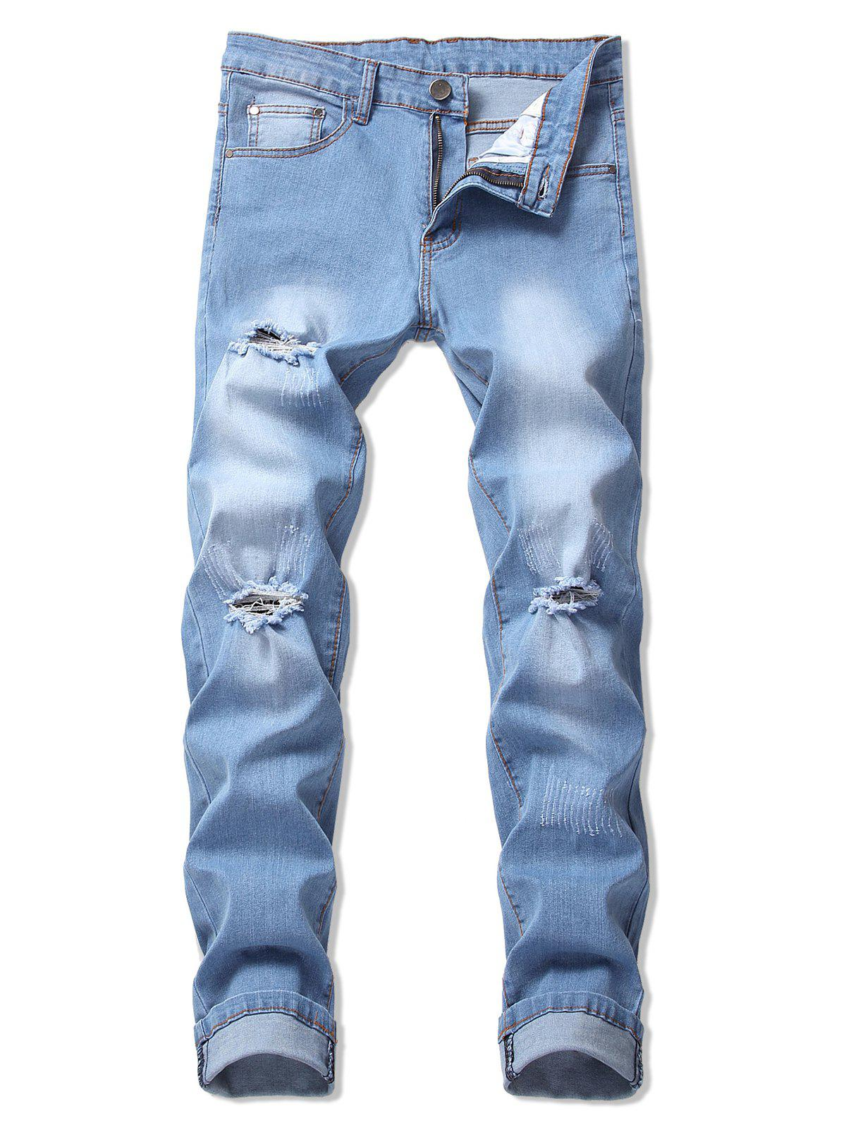 Casual Ripped Design Flanging Jeans - JEANS BLUE 34