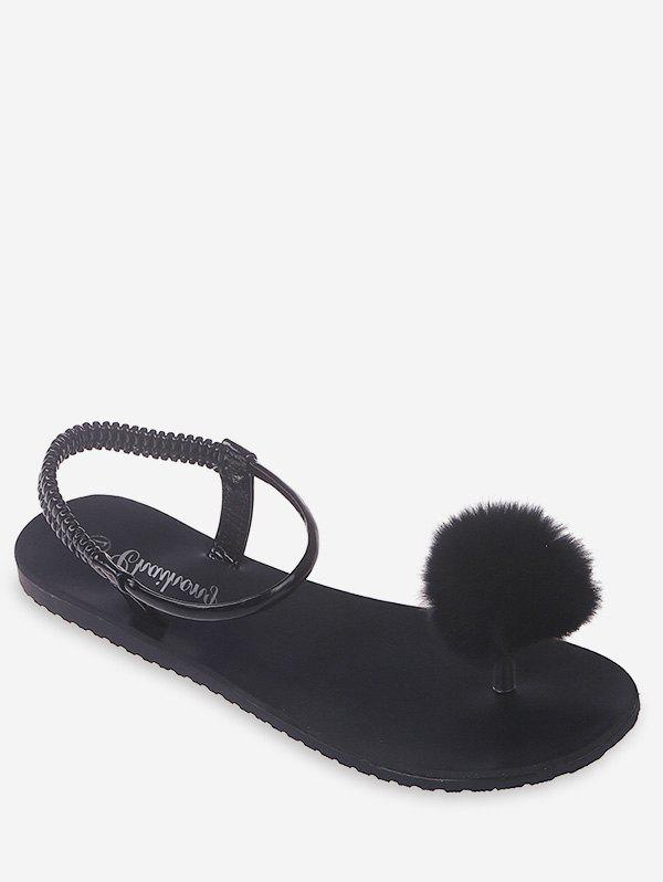 pretty cool fashion style release info on 41% OFF] 2020 Faux Fur Top Loop Flat Sandals In BLACK | DressLily