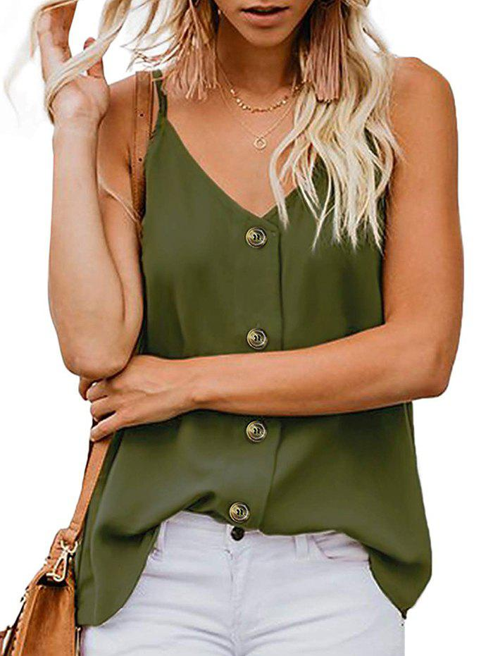 Button Up Camisole - ARMY GREEN S