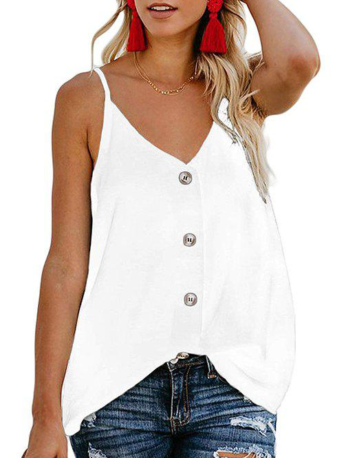 Button Up Camisole - WHITE M