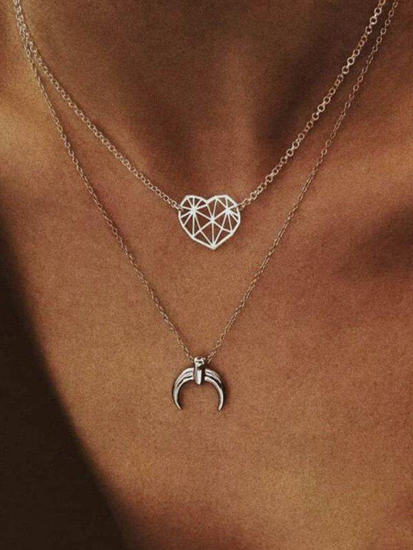 Layered Moon Heart Chain Necklace - SILVER