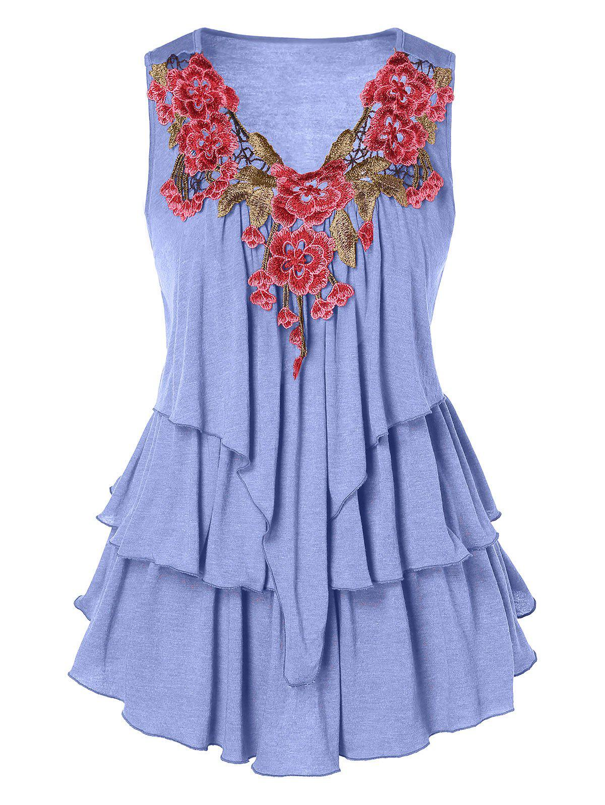 Plus Size Embroidered Layered Tank Top - PURPLE MIMOSA L