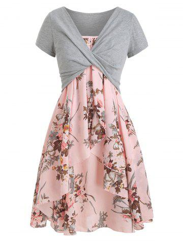 fea95edff4 Floral Cami Dress with Plunging T-shirt