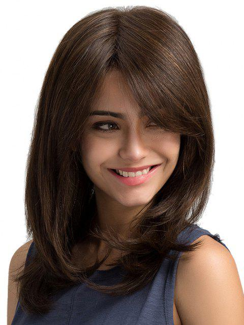 Side Bang Long Straight Synthetic Wig - BROWN