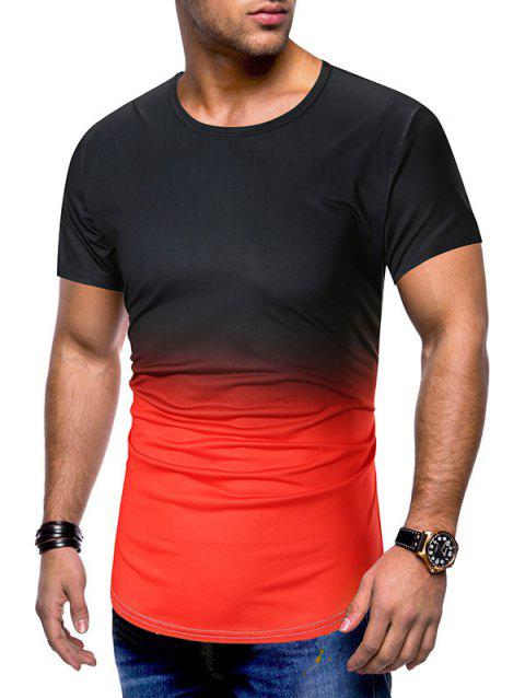 Ombre Printed Short Sleeves T-shirt - RED 3XL