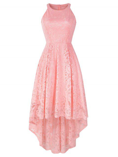 Cutaway High Low Lace Dress - PINK S