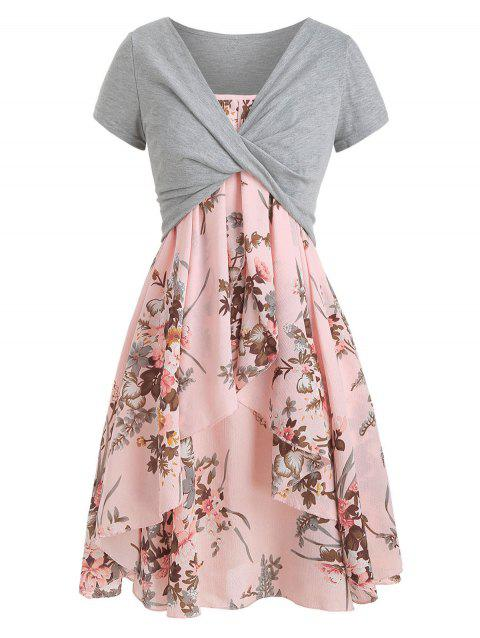 53632f8c0ae8e 22% OFF] 2019 Floral Cami Dress With Plunging T-shirt In LIGHT PINK ...