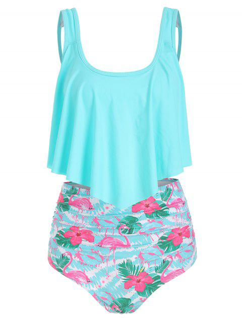 Flamingo Print Ruffle Tankini Set - AQUAMARINE XL