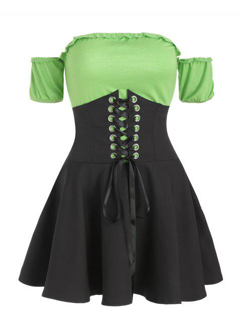 Off Shoulder Color Block Lace Up Skirt Set - ALGAE GREEN 2XL