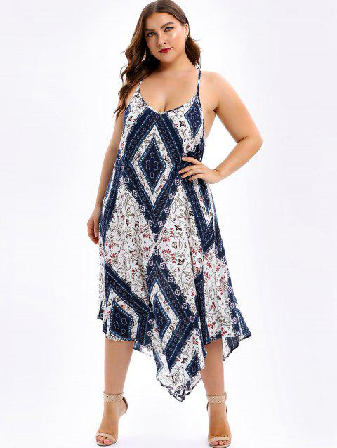 17% OFF] 2019 Plus Size Spaghetti Strap Floral Handkerchief Dress In ...