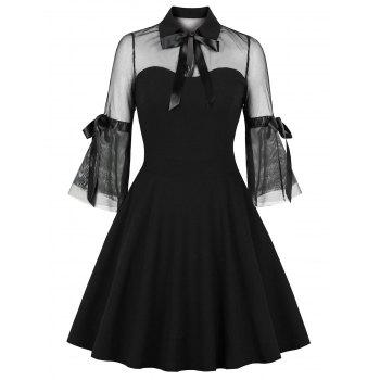 Online clothing stores for women | Dress Lilly Mesh Panel Bowknot Flare Dress | Beanstalk Mums