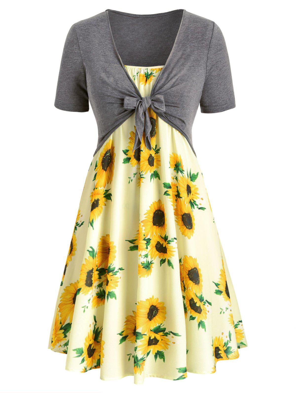 Plus Size Sunflower Print Dress With Front Knot Top - multicolor 1X