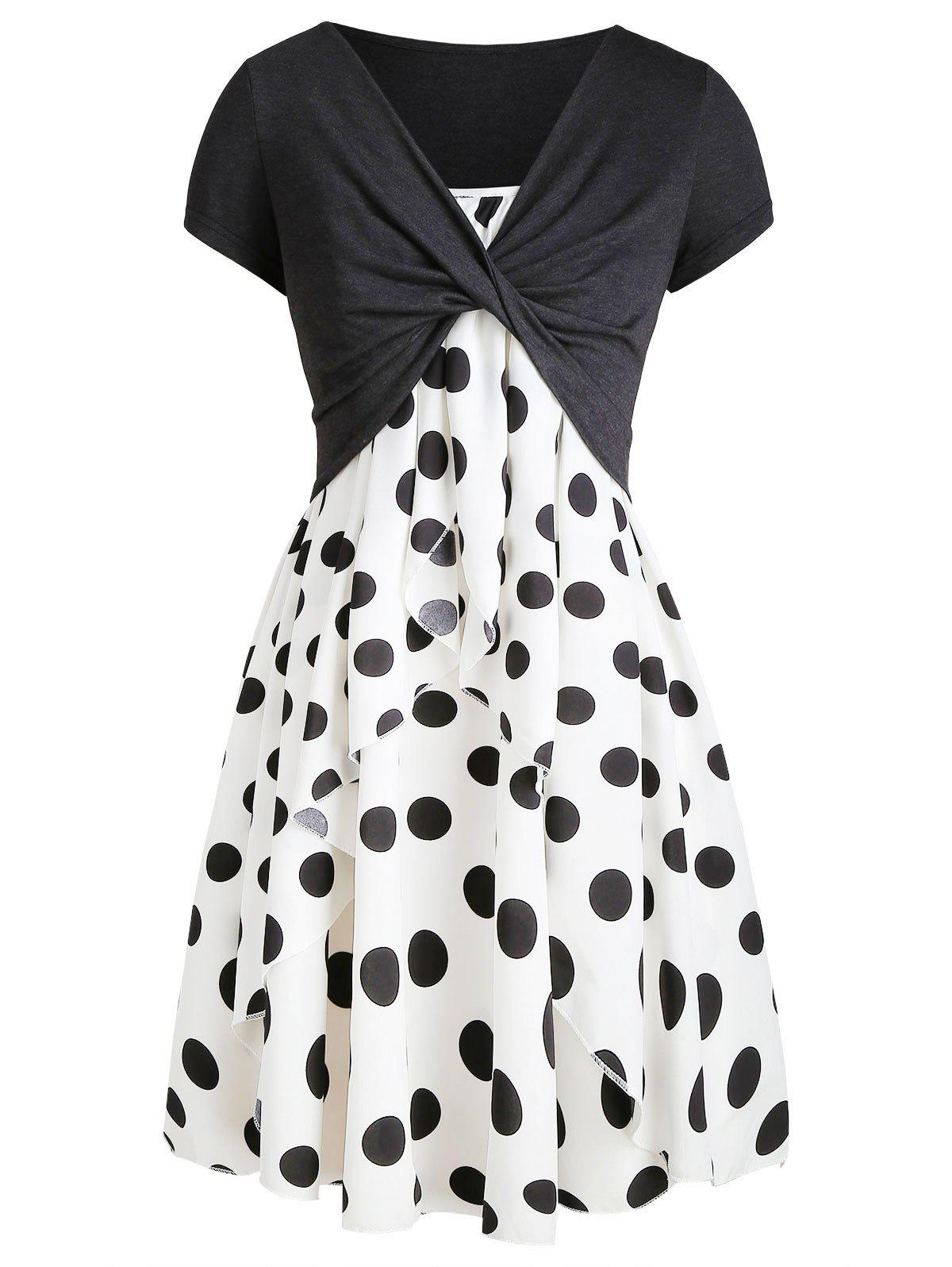 Polka Dot Cami Dress with Plunging T-shirt - BLACK 2XL