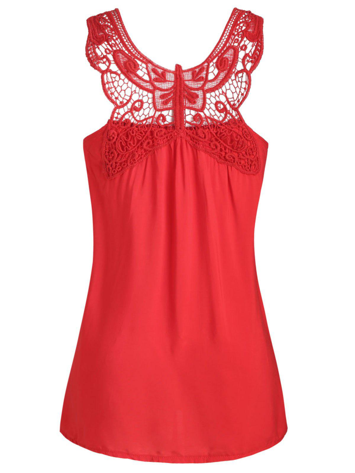 Plus Size Butterfly Lace Insert Tank Top - RUBY RED 3X