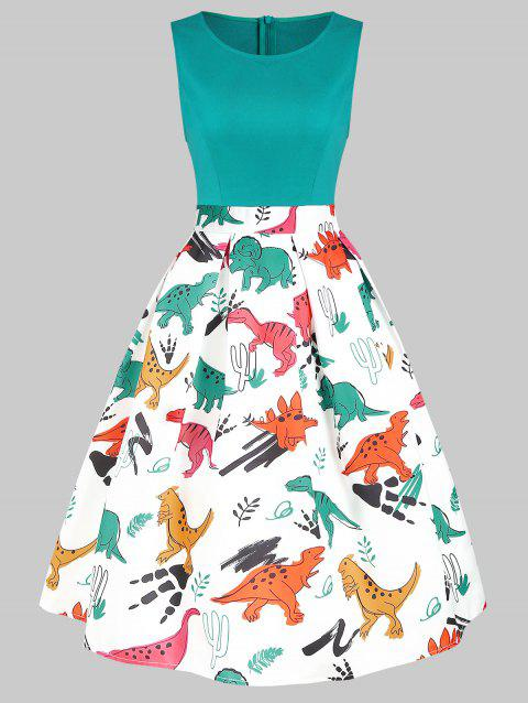 Round Neck Dinosaur Print Flare Dress - MACAW BLUE GREEN L